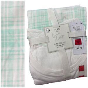 NEW Ex M&S Ladies Pure Cotton Short Sleeve Cropped Pyjamas Size 4 - 26 Plus Size