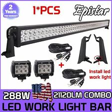 "50"" 288W+4"" 18W LED Light Bar+Mount Bracket For Jeep Wrangler TJ 1996~07+Wiring"
