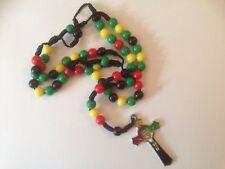 ETHNIC CROSS BEADS CHAIN PENDANT NECKLACE AFRICA JAMAICA JESUS JAMAICAN RASTA UK