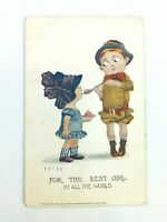 """Vintage Postcard """"For the Best Girl in All The World"""" Girl & Boy Posted 1912"""