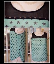 ASOS Edge Chiffon Sheer Black Green Stars Cross Print Hi Low Blouse Sleeveless S