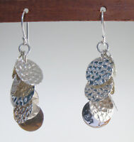 """925 sterling silver hammered discs dangle earrings 1 3/4"""" high"""