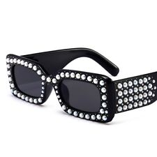 Venetian Pearl Sunglasses Rectangular Frame Rhinestone Women Fashion Shades 2021