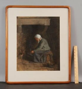 19thC Antique Signed 1906 Interior Genre Pastel Drawing Woman & Hearth Fireplace