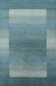 Contemporary Geometric Gabbeh Oriental Area Rug Hand-knotted Modern 6'x9' Carpet