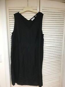 Avenue Black Linen Blend Sleeveless Jumper Dress, Sz 18, Side Zipper,  EUC!