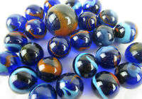 25 Glass Marbles DRAGONFLY Cobalt Blue/Red Transparent fish tank decor Shooter