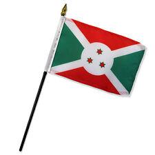 """Wholesale Lot of 6 Burundi 4""""x6"""" Desk Table Stick Flag"""
