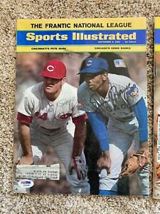 ERNIE BANKS & PETE ROSE AUTOGRAPHED SIGNED SPORTS ILLUSTRATED - PSA CERTIFIED