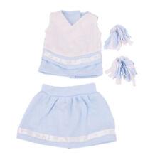 18'' Cheerleading American Dolls Uniform Cheerleading Pom Poms Outfit Blue