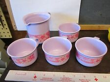 Tupperware Toys Mini Pretend Play Set Child Barbie Purple pink flower pitcher