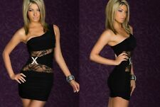Sexy Black Lace One Shoulder Cocktail Dance Party Club Slim Fit Dress New S 8 10