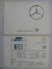 Prospekt Mercedes W 111 - 220, 2.1963, 20 Seiten + Datenblatt, englisch