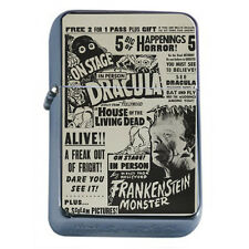 Silver Flip Top Oil Lighter Vintage Poster D 38 Vintage Horror Show Ad