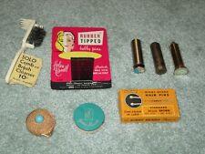 VINTAGE LOT 8 WOMEN'S BEAUTY 1950's BOBBY PINS COMPACT ESTEE LAUDER LIPSTICK ++