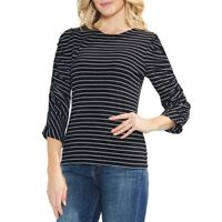 VINCE CAMUTO NEW Women's Ribbed Ruched Sleeve Striped Blouse Shirt Top TEDO