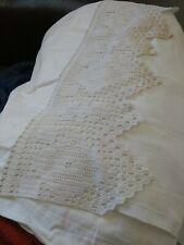 Vintage Osman White Cotton Flat Sheet with lacy top edge