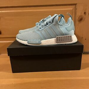 Adidas Men's NMD_R1 H01918 Hazy Sky Blue and White Shoes Size 8.5