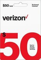 Verizon Wireless- $50 Refill,  Refill Airtime  for Verizon Prepaid Service