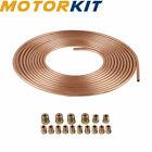 14 Od Copper Plating Brake Tubing 25ft Coil Roll Repair Tube Kit Fitting