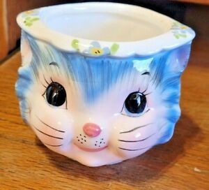 Vintage Lefton 'Miss Priss' Blue Cat Sugar Bowl #1508 - No Lid