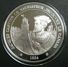 JACQUES CARTIER, LE NAVIGATEUR, DECOUVRE LE CANADA 1534 - Argent 40 mm - BE