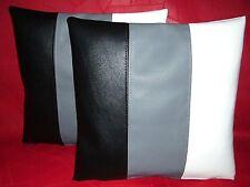 """2 en cuir synthétique housses de coussin en noir gris & blanc 12"""" Mini Scatter Oreillers"""