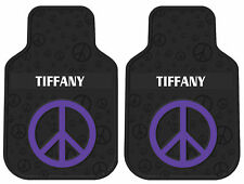 2PC NEW PURPLE PEACE SIGN PERSONALIZED CAR FLOOR MATS