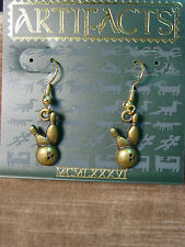 """JJ"" Jonette Jewelry Bronze Pewter 'BOWLING Ball & Pins' Earrings"