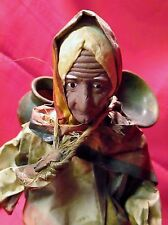 "Paper mache Old Woman Jugs Urns Mexico? 13"" colorful great detail Vintage"