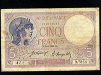France:P-72b,5 Francs,1921 * RARE * BEST DATE *
