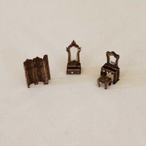Dollhouse Miniature 1:144 Victorian Dressing Room Assembled 4 PCS Walnut Finish