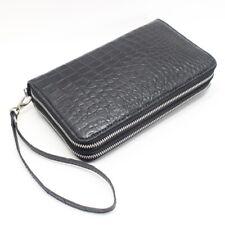 Crocodile Alligator Belly Leather Man Zipper Black Clutch Long Wallet