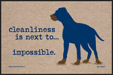 "Funny Dog Doormat - ""Cleanliness is next to... Impossible"" Pet Welcome Mat"