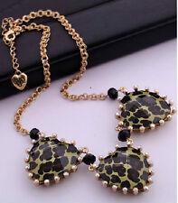 N344 BETSEY JOHNSON Exquisite Stripey Leopard Heart w/ Gem Necklace AU