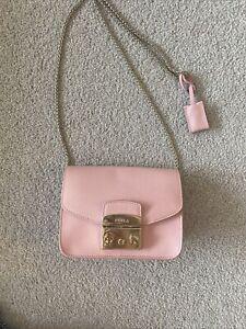 Furla Metropolis Mini Crossbody bag pink textured leather pre-owned