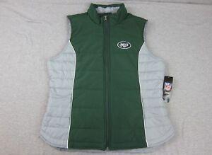 NEW Woman's NY New York Jets Green & Gray Vest Jacket Full Zip NWT Large NFL