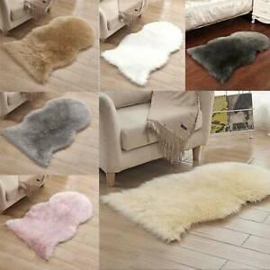 Fluffy Plain Sheepskin Area Mat Soft Faux Fur Shaggy Rug Thick Wool Comfy Carpet
