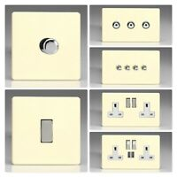 Varilight Screwless White Chocolate Light Switch Socket Dimmer Toggle Cooker