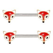 """CUTE RED FOX STEEL NIPPLE PIERCING RINGS BARBELLS 14g 5/8"""" (Sold in Pairs)"""