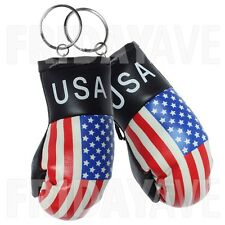 2x Mini Us American Flag Boxing Gloves Patriotic Keychain Bag Decor Accessory