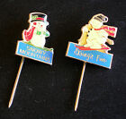 Snowy Mountains & Skiing's Fun - Goldtone Metal Badges/Lapel Pins - VG Condition