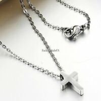 Men's Women's High Polished Jesus Cross Stainless Steel Pendant Necklace Chain