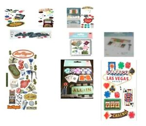 LAS VEGAS Casino Gambling Poker Blackjack Craps Dice Cards Jolee's Stickers PICK