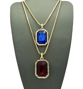 """Hip Hop Micro Ruby Red, Blue Gemstone Pendant 24"""",30"""" Box Chain 2 Necklace Set"""