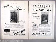 Browning-Drake Radio PRINT AD - 1930 ~~ LOT of 2 diff. ads