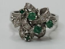 Palladium .40tcw Natural Emerald & .15tcw Diamond Art Deco Cluster Ring Size 6