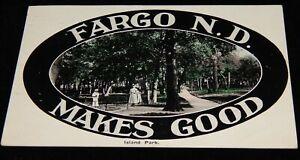Vintage Postcard,FARGO, ND,Island Park,To MN,St Paul & Spokane RPO,1st Division