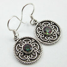 Art Retro EARRINGS Jewelry ! 925 Pure Silver MYSTIC TOPAZ TRIBAL NEW GIFT 1.3""