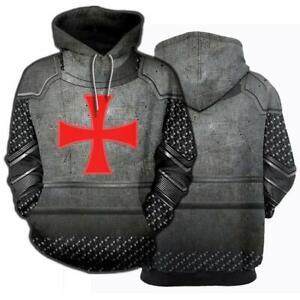 New Medieval Knight Templar Armor Hoodie Hooded Pullover Casual Sweatshirt